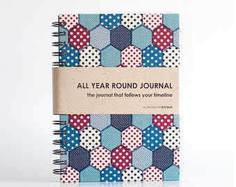 All Year Round Timeless Journal / Planner (Self-filled dates, fabric wrapped) - Patchwork