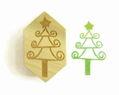 Curlicue Christmas Tree Stamp, Wood Mounted Whimsical Whoville Rubber Stamp