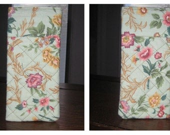 Mint Green iPhone/Eyeglass Case with Pink Flowers on Golden Vines
