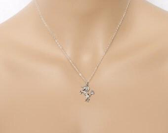 3D Unicorn Necklace Sterling Silver Fantasy Friends Birthdays