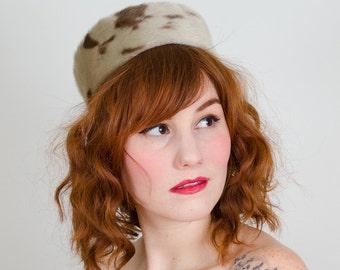50% OFF SALE / 1950s vintage hat / faux fur hat / Sealskin