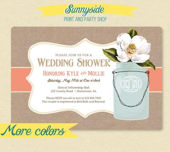 wedding shower invitation monogram burlap by sunnysideprintparty
