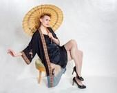 Vintage 1920s Silk Floral Kimono - Black Blue Orange - Lingerie Fashions
