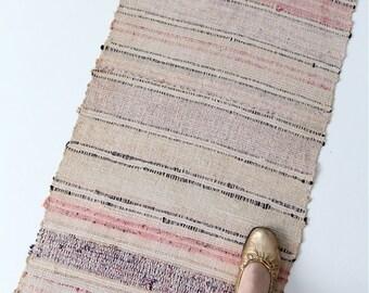 1920s rag runner, vintage Scandinavian rug, 11 ft