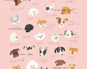 Dog poster - A to Z -pink