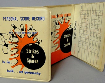 "BOWLING 50's ""Strikes & Spares"" Personal Score Record +Illustrated Better Bowling Guide in Vinyl Notebook Case 1958 Standard Products"