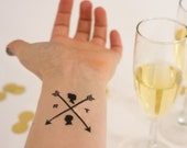 Wedding Temporary Tattoos, Custom & Personalized Arrow Tattoos with the Couple's Initials and Silhouette - Tattoo Wedding Favors