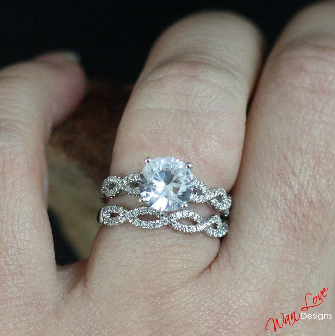 forever one moissanite diamond 2ct 8mm 3/4 eternity infinity