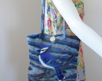 Felted Crocheted Purse with Needle Felted Blue Jay