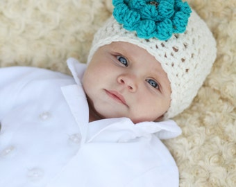 Gifts for Baby Girl - Hand Crocheted Cream Hat - Unique Baby Gift - Baby Shower Gift