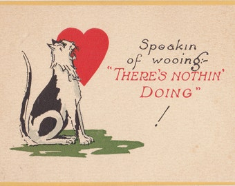Speaking of Wooing, There's Nothing Doing- 1920s Antique Card- Black and White Tom Cat- Classic Red Heart- 20s Valentine- Paper Ephemera