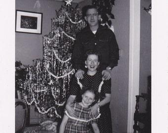 Tis The Season For Tinsel- 1950s Vintage Photograph- Christmas Tree- Family Snapshot- Foud Photo- Holiday Decorations- Paper Ephemera