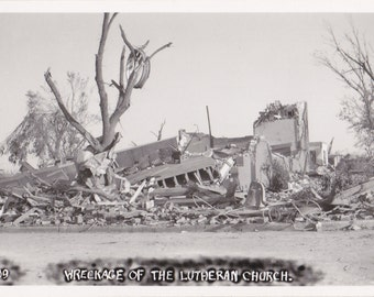 Wreckage of the Lutheran Church- 1950s Vintage Photograph- Weather Disaster- Twister Aftermath- Tornado Damages- Kodak RPPC- Paper Ephemera