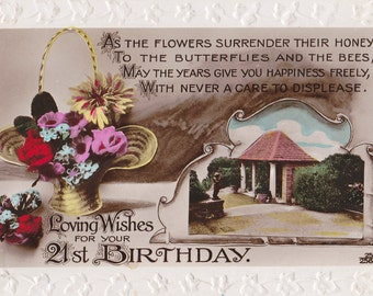 Loving Wishes For Your 21st Birthday- 1920s Antique Postcard- Flower Basket- Tinted RPPC- Photo Card- Paper Ephemera- Used