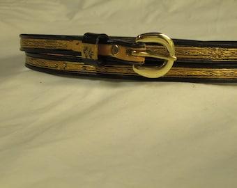 Women's belt , Men's belt , thin belt , leather belt , barbed wire belt , custom belt , black and gold belt , Halloween belt