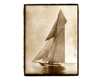 Landscape photography, nature photography, beach house, ocean, sailing, nautical, Sailboat, Boat, Sepia, Ocean, Cream, 8x10