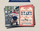 Cowboy Birthday Invitation - red and blue | Cowboy Birthday Invite | Cowboy Baby Shower Invitation | Cowboy Party Printables