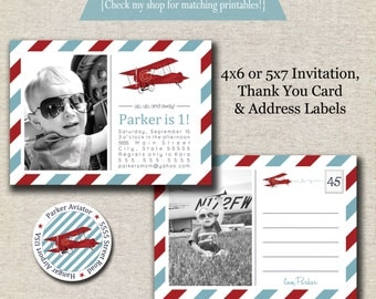 Vintage Airplane Invitation - Thank You Card - Return Address Label set - red and blue   Vintage Airplane Party Printables   Aviator Party