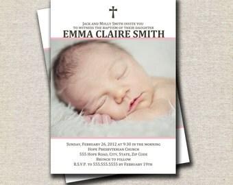 Girl Baptism Invitation | Girl Christening Invitation | Communion Confirmation Dedication Photo Invitation