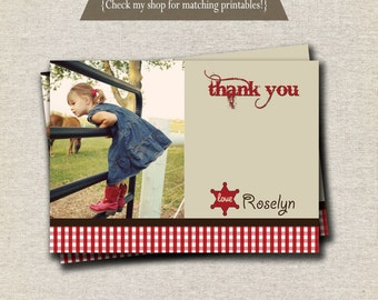 Cowgirl Thank You Card - red | Western Thank You Card - red | Red Cowgirl Party Printables