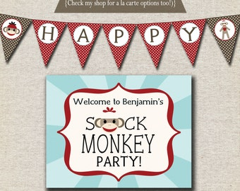 Sock Monkey Birthday Party Kit - printable invitation, thank you card, banner, sign, party circles, favor tags, food drink labels
