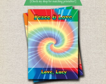 Tie Dye Thank You Card - rainbow | Spin Art Thank You Card | Tie Dye Party Printables