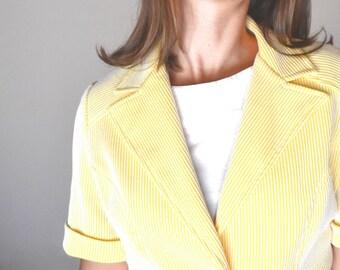 Candy Stripe Blazer 60s Vintage Yellow White Short Sleeve Mod Twiggy Jacket Small
