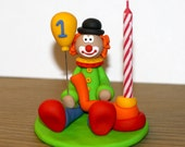 Custom Made Clown Cake Topper and Candle Holder