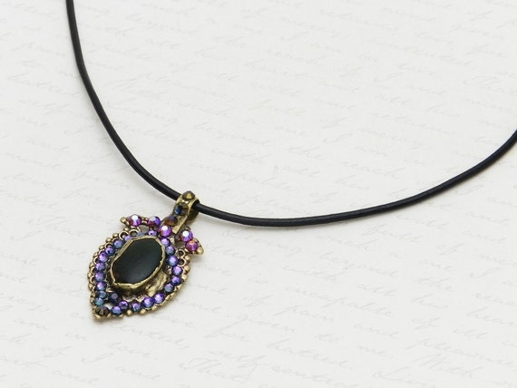 Vintage Kuchi Necklace with original dark glass centerpiece - embellished with sparkly purple Swarovski crystals