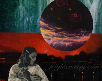 Surreal Art Print, Colorful Collage, Mixed Media Collage, Space Art, Red and Green Art, Unusual Art