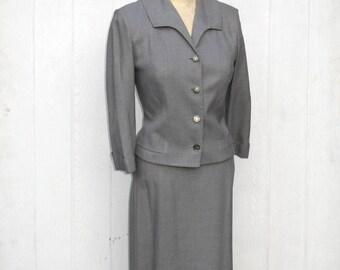 SALE Vintage 60s Suit / 1960s Suit / Rayon Suit Gray Suit / Gray Wiggle Skirt / Mad Men Suit / 60s Rayon Jacket