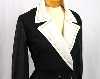 R & K Originals * Black and White Dress * Wrap Dress * Sheer Dress * 1960s Dress * 60s Dress * Mod Dress