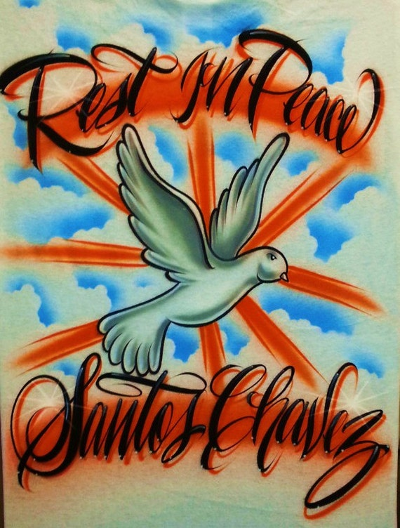 Airbrush T Shirt Rest In Peace Dove With Two Word Name Rest