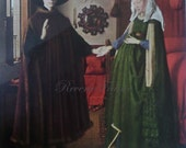 Original Vintage French Art Print, The Arnolfini and Wife by Van Eyck, Dutch Masters, 15th Century