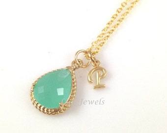 Mint Opal Necklace - Gold Seafoam Green Personalized Initial Bridesmaids Necklace Prom Christmas Gift