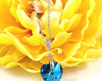 Peacock Blue Heart Necklace - Swarovski Crystal Bermuda Blue Wedding Bridal Bridesmaids Prom Valentine's Day Love Necklace