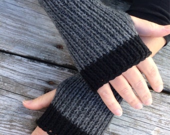 Fingerless gloves, Knit Gloves, Hand Warmers, Wrist Warmers, Texting Gloves, Grey and black