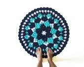 Round Crochet Mandala Rug - One of a Kind Blue White Colorful Rug Mat with Scallop Edge