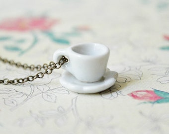 Teacup Necklace - White - Antiqued Brass Chain - White Jewelry - Whimsical Jewelry - Alice in Wonderland Inspired - Tea Cup Jewelry
