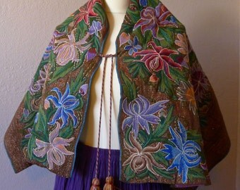 Mayan Mexican embroiderey Vintage capes shawls - Golden Tan Metallic blue pink golden Floral Style 13#P