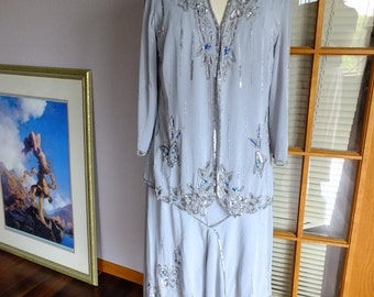 Vintage wedding 1920s Inspired flapper baby blue beaded dress and jacket