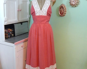Vintage Pink Sundress - Long Cotton Dress - Coco of California - Pink and White - Melon Pink