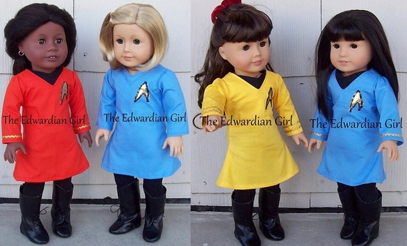 Original Series Star Trek doll clothes, will fit 18 inch dolls American Girl Springfield, Gotz, Our Generation, Made in USA