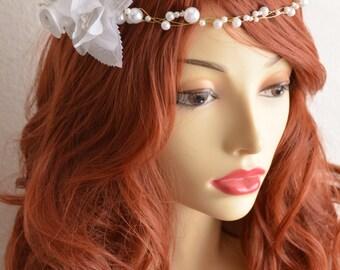 READY TO SHIP, White Flower headband, White Pearl headband, Bohemian headband, gold wired headband, white flower, Bridal,flower crown, gold