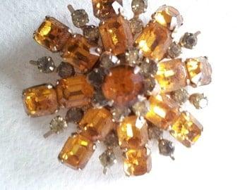 1950s Coro Signed Starburst Brooch 50s Vintage Orange Snowflake Pin Gold Amber Olive Rhinestones Crystals Faux Citrine Retro Prom Jewelry
