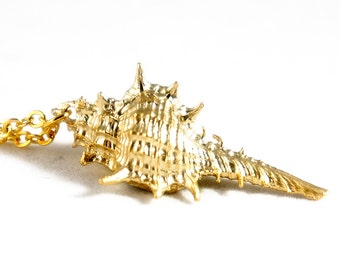 NEW Matt Gold Plated Murex Seashell Pendant Necklace - Sea Shell Necklace - Murex Necklace - Beach Wedding Jewelry - Bridesmaids Gift Idea