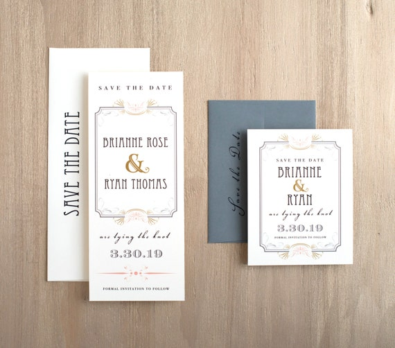 """Art Deco Wedding Save the Dates, Old Hollywood Save the Date Cards, Elegant Wedding, Gray, Blush and Gold - """"Art Deco Love"""" Save the Dates"""