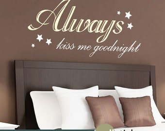 Always Kiss Me Goodnight Wall Art love infinity wall decal anchor wall decor girls bedroom