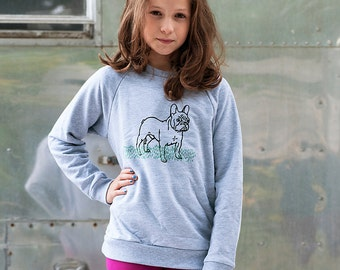 pant...pant...pant... Lets Play French Bulldog Shirt, Frenchie Shirt, Grey Sweater for Kids, 2T- 12Yrs
