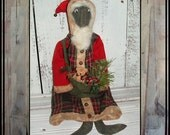 primitive folk art black santa hand embroidered eyes Father Christmas HAFAIR OFG
